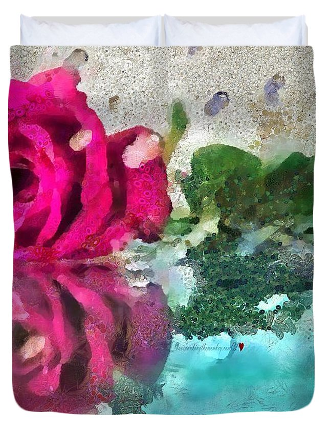Rose Reflected Fragmented In Thick Paint Duvet Cover featuring the painting Rose Reflected Fragmented In Thick Paint by Catherine Lott
