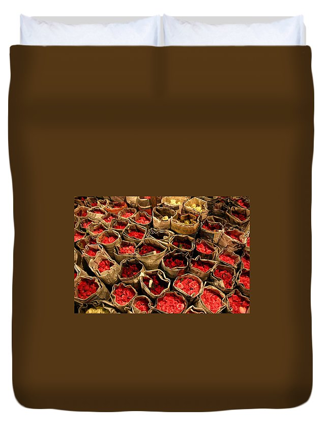Roses Duvet Cover featuring the photograph Rose Rolled In Newspaper by Minaz Jantz