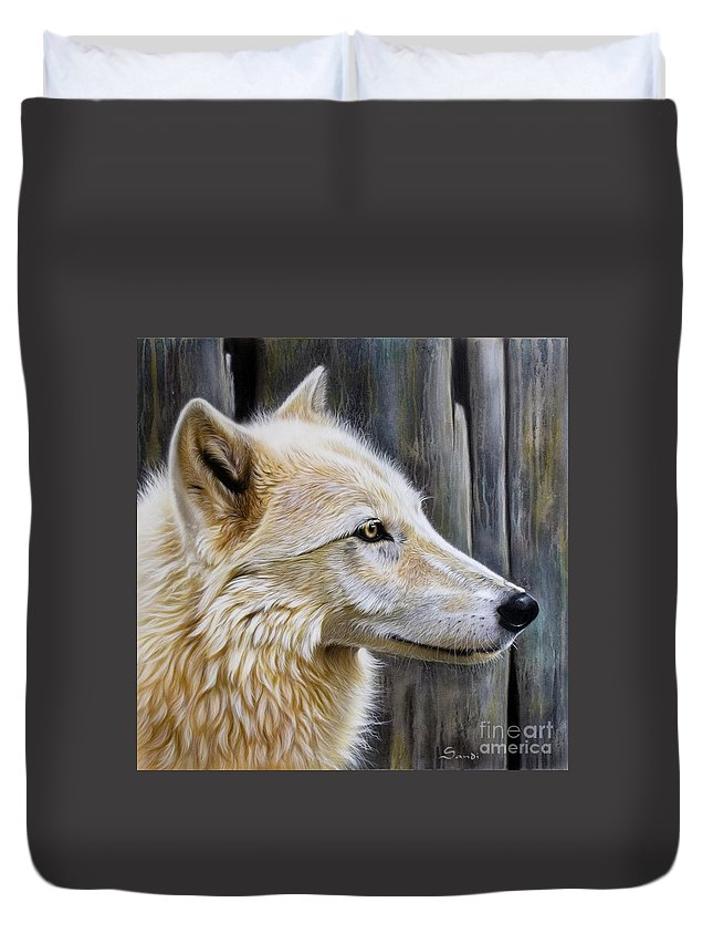 Wolves Duvet Cover featuring the painting Rose by Sandi Baker