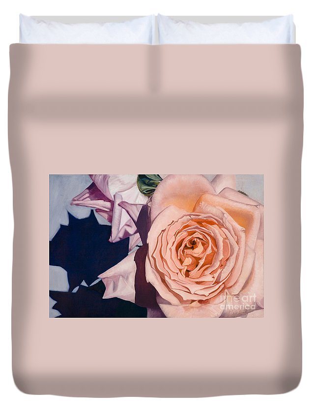 Roses Duvet Cover featuring the painting Rose Splendour by Kerryn Madsen-Pietsch