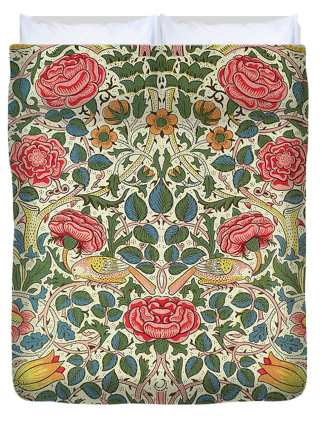 Arts And Crafts Movement; Floral; Pattern; Chintz Duvet Cover featuring the painting Rose by William Morris