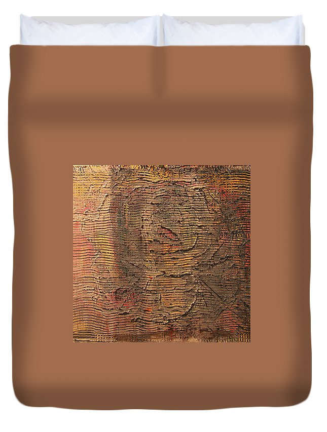 Abstract Duvet Cover featuring the painting Rose1 by Tom Brooks