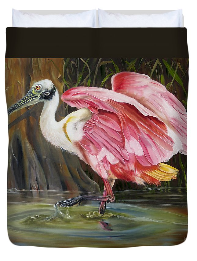 Bird Duvet Cover featuring the painting Roseate Spoonbill In A Cypress Swamp by Phyllis Beiser
