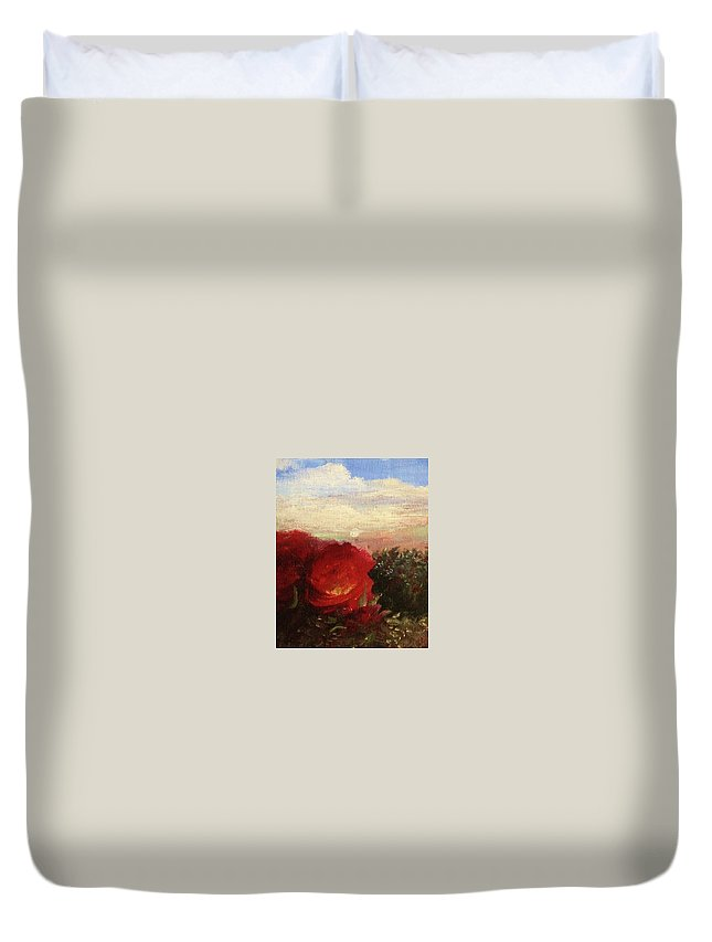 Original Oil Painting Duvet Cover featuring the painting Rosebush by Mary Ellen Frazee