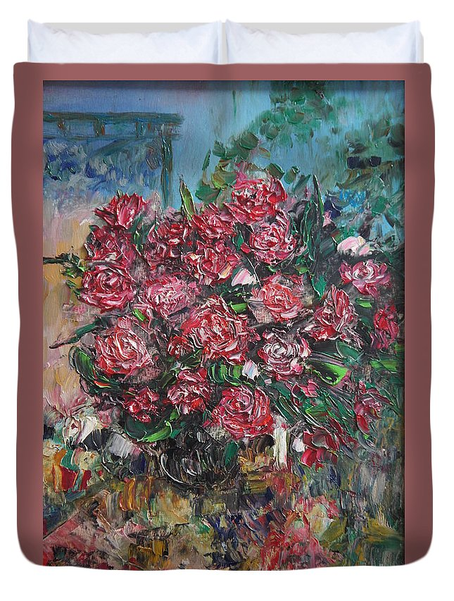 Roses Bush Garden Duvet Cover featuring the painting Rosebush by Vladimir Moisejevs