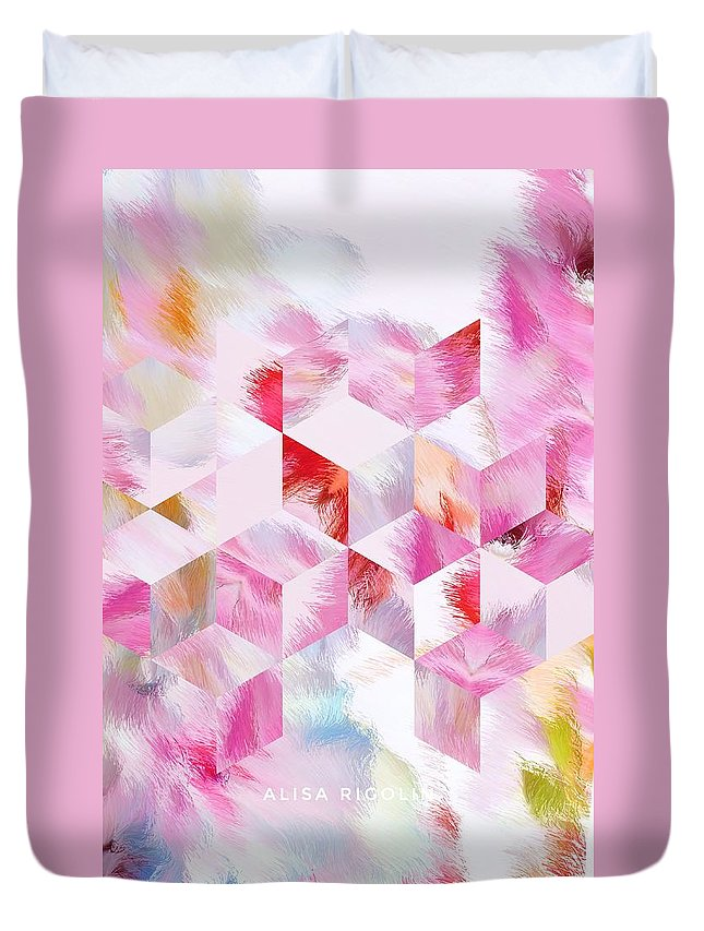 Rose Duvet Cover featuring the mixed media Roselique Cubes by Alisa Rigolin