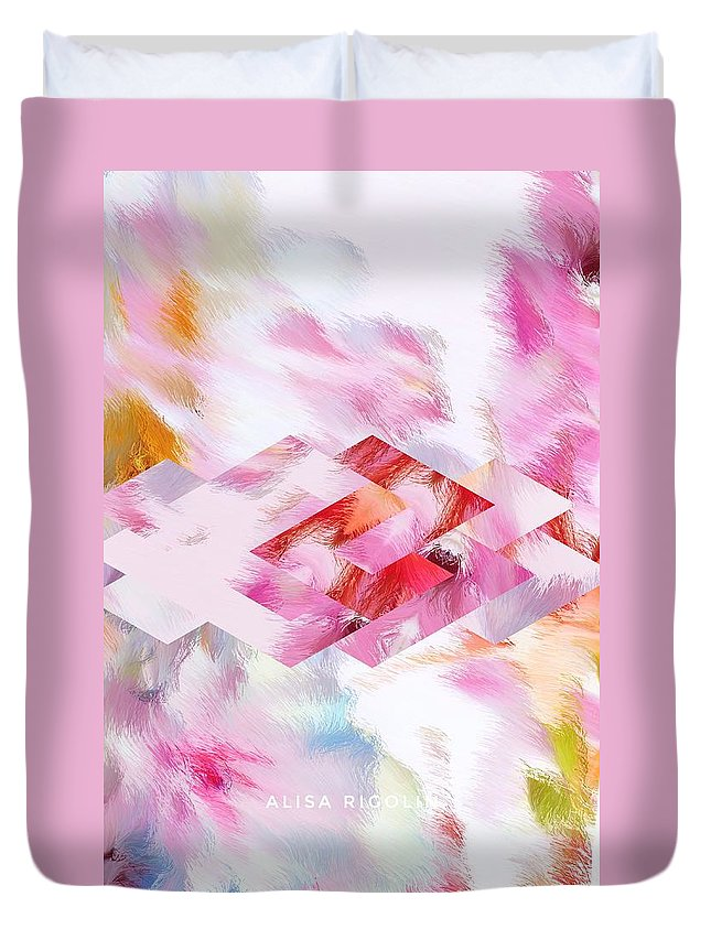 Rose Duvet Cover featuring the mixed media Roselique Dimension by Alisa Rigolin