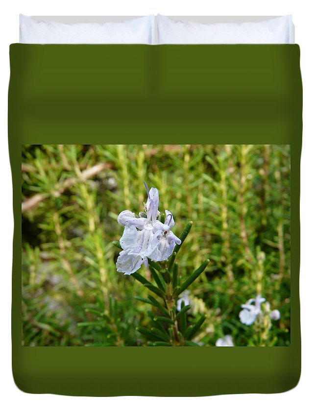 Rosemary Duvet Cover featuring the photograph Rosemary Bloom by Valerie Ornstein