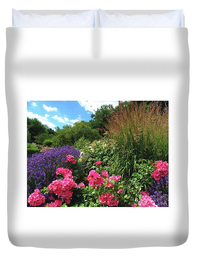 Nature Duvet Cover featuring the digital art Roses by Alex Lim