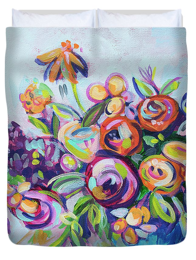 Bright Duvet Cover featuring the painting Roses And Kumquats by Kristin Whitney
