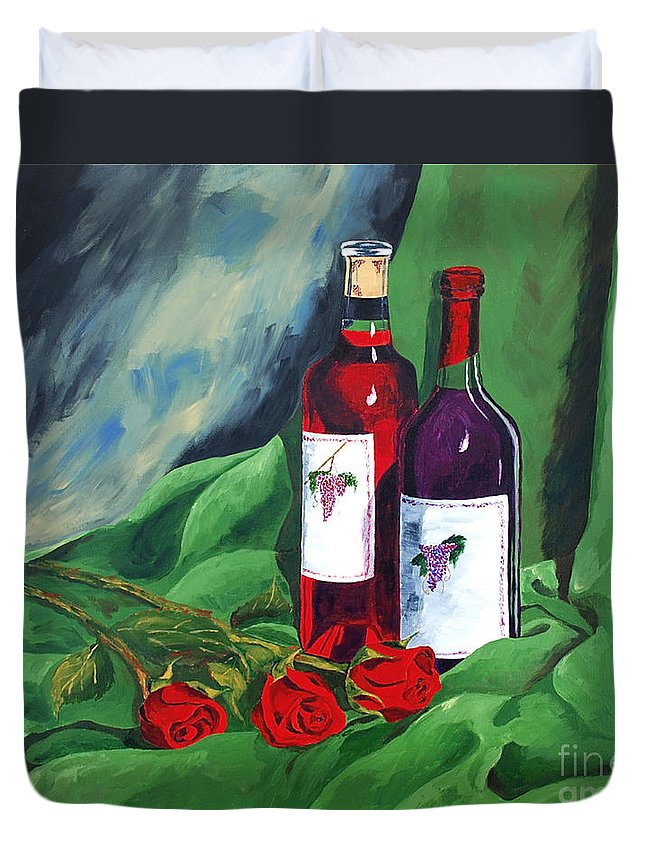 Wine And Roses Red Roses Red Wine Still Life Duvet Cover featuring the painting Roses And Wine by Herschel Fall