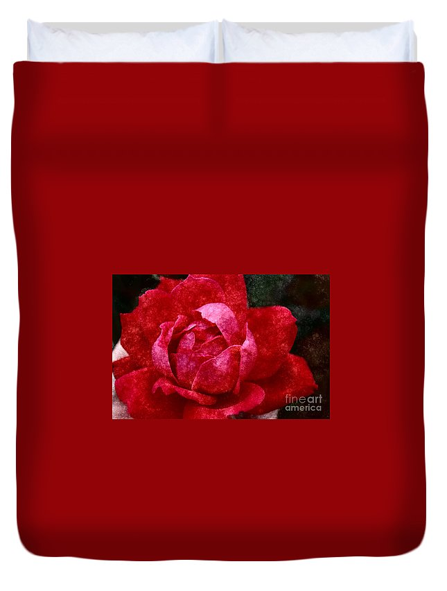 Red Rose Duvet Cover featuring the photograph Roses Are Red by Donna Bentley