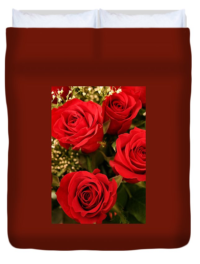 Rose Duvet Cover featuring the photograph Roses Are Red by Kristin Elmquist
