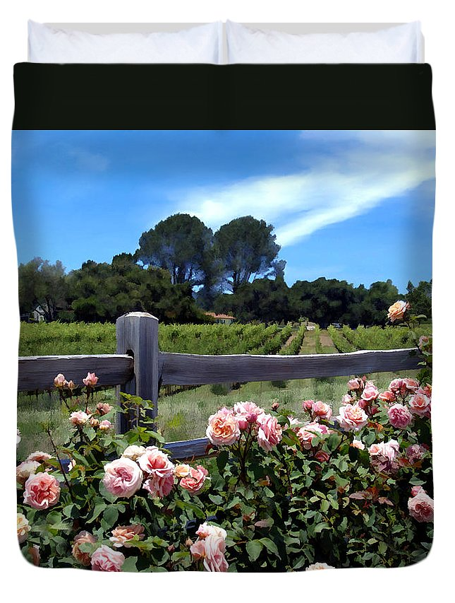 Flowers Duvet Cover featuring the photograph Roses At Rusack Vineyards by Kurt Van Wagner