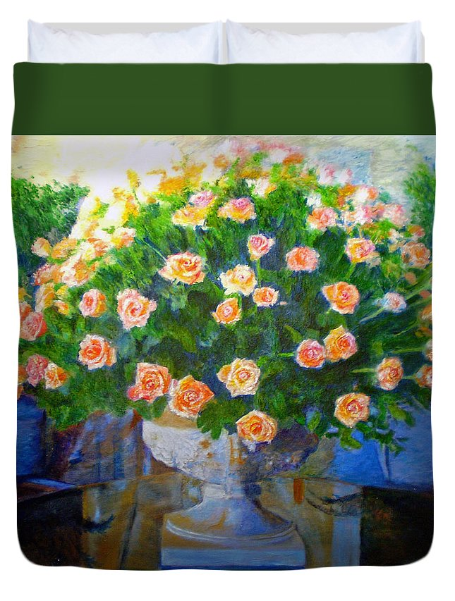 Rose Duvet Cover featuring the painting Roses At Table Bay by Michael Durst