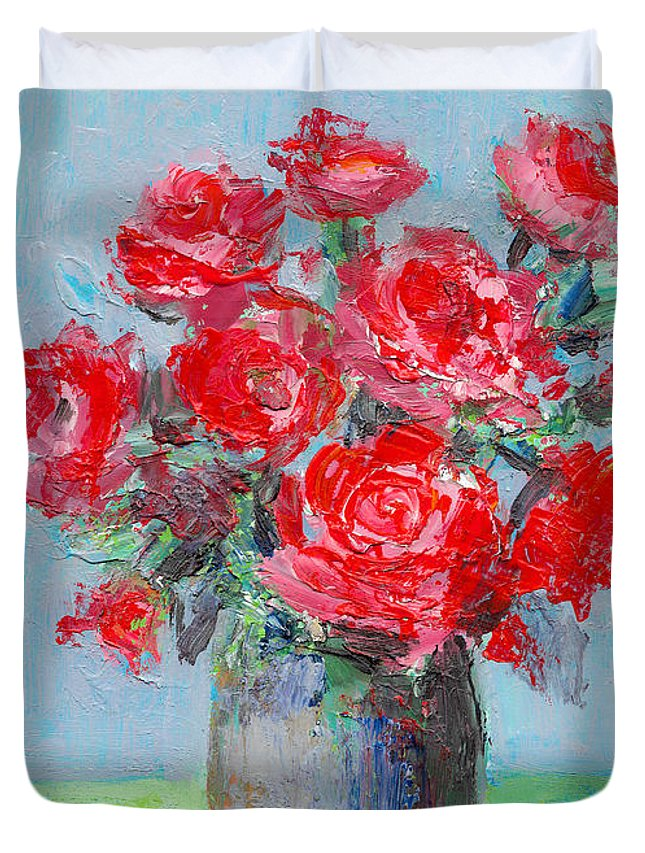Roses Duvet Cover featuring the painting Roses by Cuiava Laurentiu