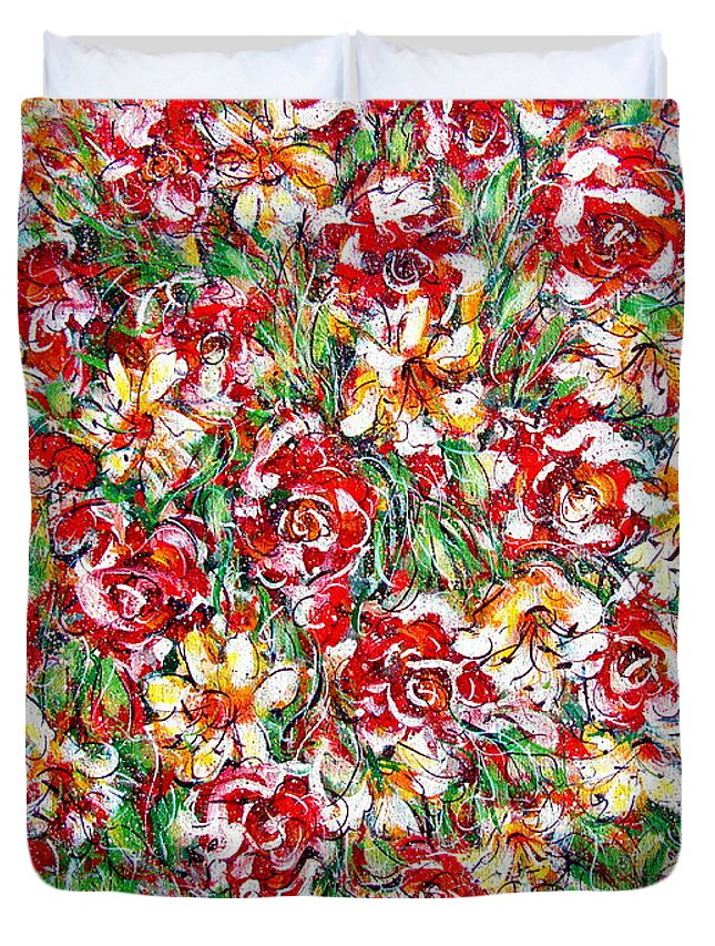 Red Roses Duvet Cover featuring the painting Roses For You by Natalie Holland