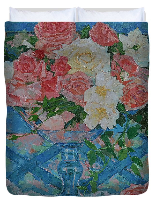 Roses Duvet Cover featuring the painting Roses by Iliyan Bozhanov