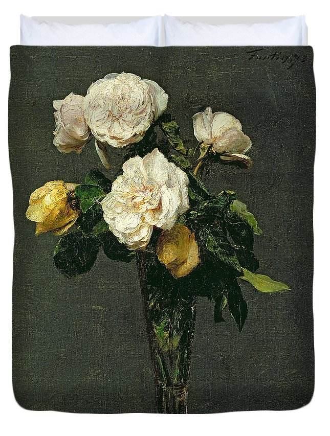 Roses Duvet Cover featuring the painting Roses in a Champagne Flute by Ignace Henri Jean Fantin-Latour
