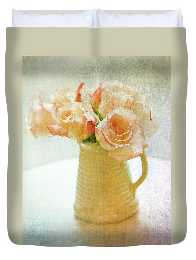 Roses Duvet Cover featuring the photograph Roses In A Vase Still Life by Lynne Daley