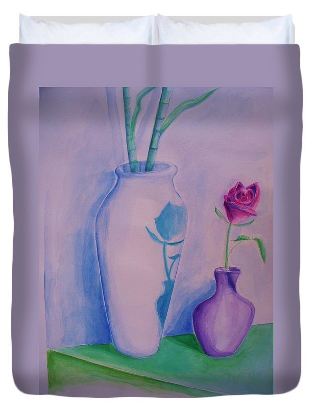 Red Rose Duvet Cover featuring the painting Roses In Vase by Eric Schiabor