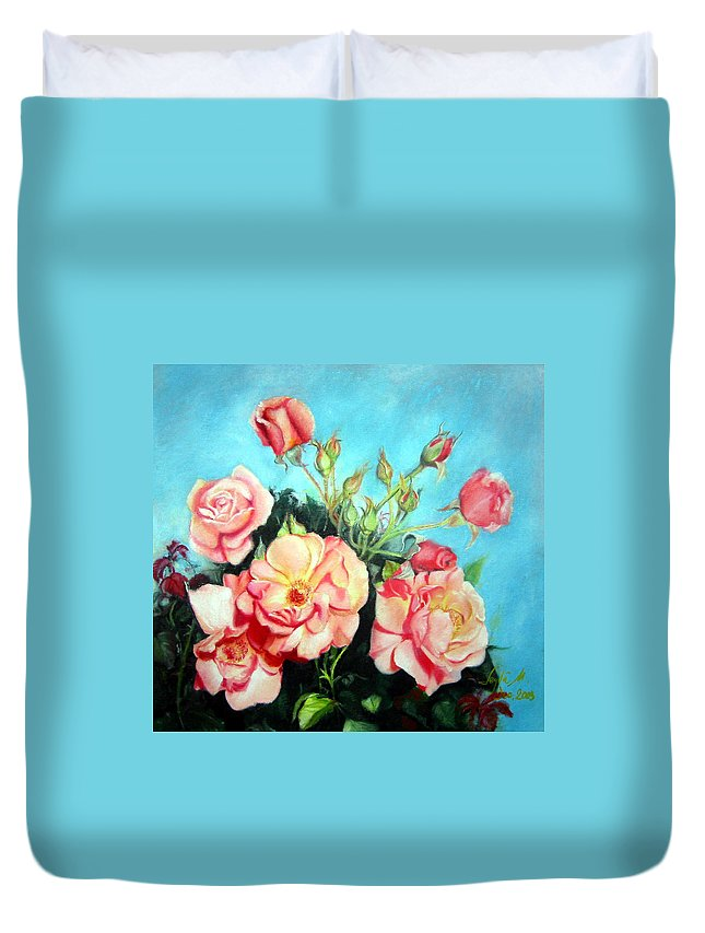 Flowers Duvet Cover featuring the painting Roses by Leyla Munteanu
