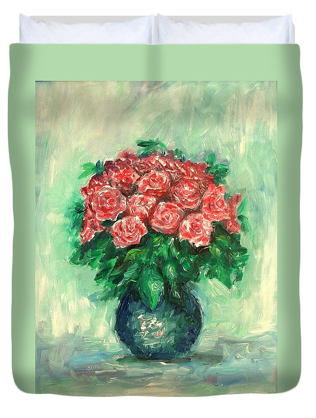 Oil Canvas Duvet Cover featuring the painting Roses Oil Painting by Natalja Picugina