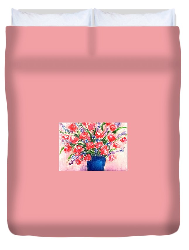 Roses Duvet Cover featuring the painting Roses On Blue Vase by Hae Kim
