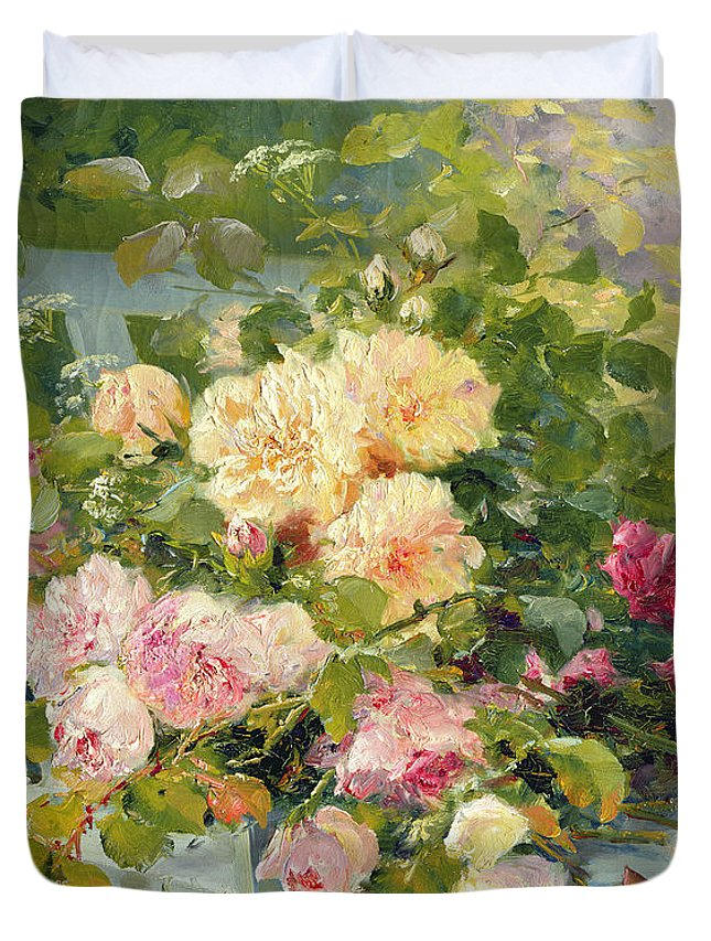 Gg377033 Duvet Cover featuring the photograph Roses On The Bench by Eugene Henri Cauchois