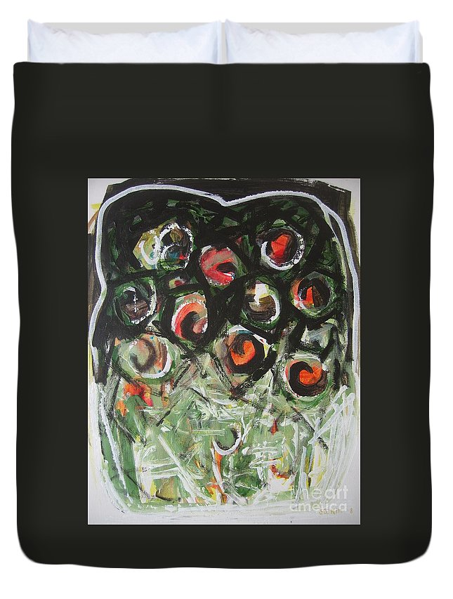 Abstract Painting Duvet Cover featuring the painting Roses by Seon-Jeong Kim