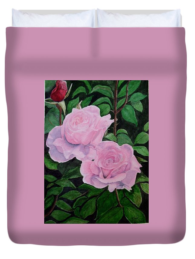 Garden Duvet Cover featuring the painting Roses by Thomas Taylor
