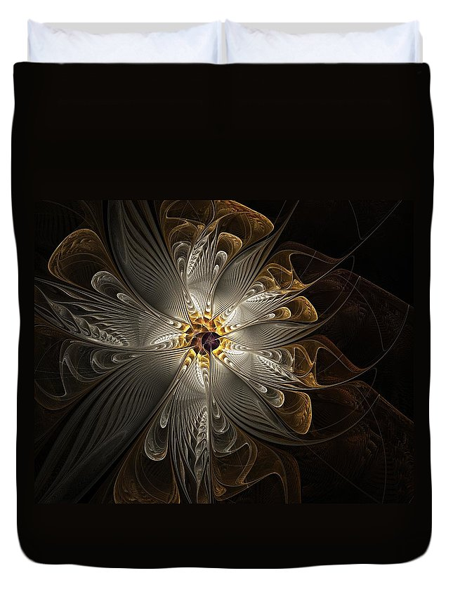 Digital Art Duvet Cover featuring the digital art Rosette In Gold And Silver by Amanda Moore
