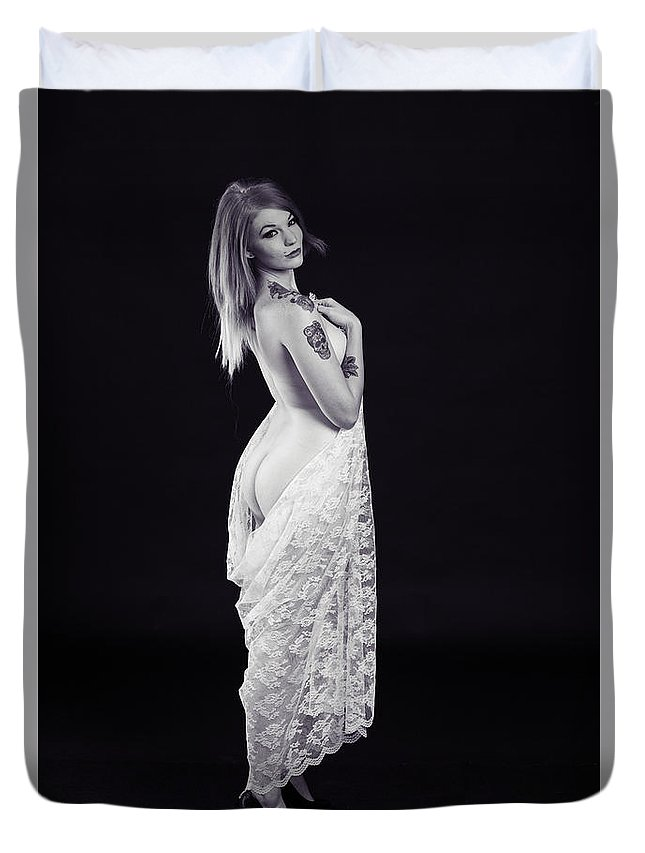 Rosie Duvet Cover featuring the photograph Rosie Nude Fine Art Print In Sensual Sexy 4615.01 by Kendree Miller