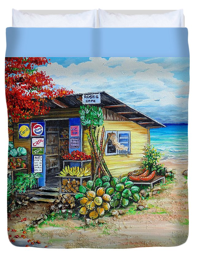 Beach Cafe Duvet Cover featuring the painting Rosies Beach Cafe by Karin Dawn Kelshall- Best