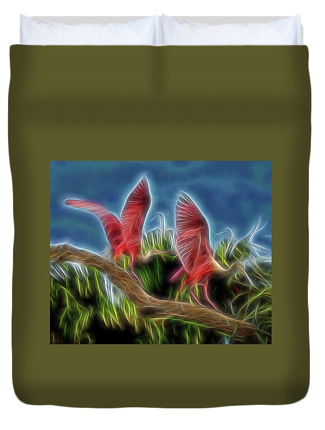 Abstract Duvet Cover featuring the digital art Rosies On Fire by William Horden