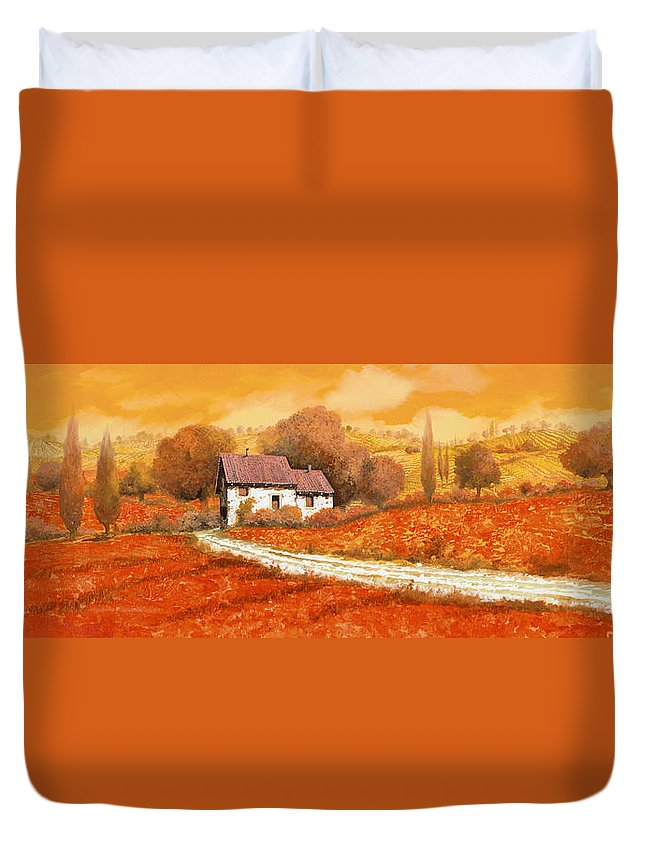 Tuscany Duvet Cover featuring the painting I papaveri rossi by Guido Borelli