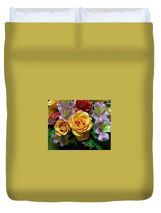 Rose Duvet Cover featuring the photograph Rosy Bouquet by Carolyn Jacob
