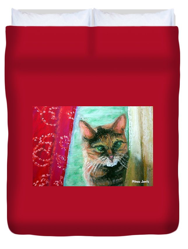 Cat Duvet Cover featuring the painting Rosy In Color by Minaz Jantz