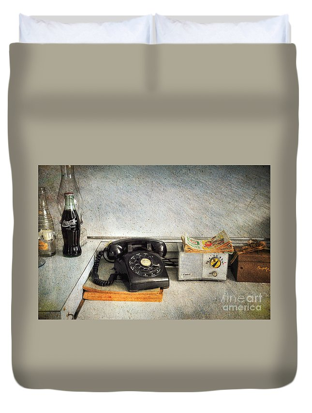 Telephone Duvet Cover featuring the photograph Rotary Dial Phone In Black S And H Stamps by Paul Ward