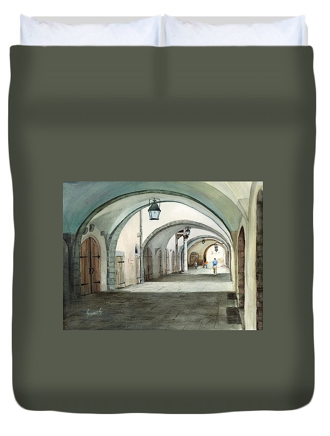 Germany Duvet Cover featuring the painting Rothenburg Backstreet by Sam Sidders