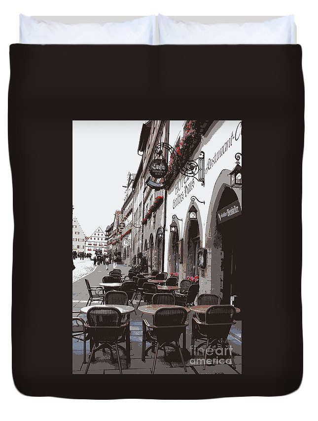 Rothenburg Duvet Cover featuring the photograph Rothenburg Cafe - Digital by Carol Groenen