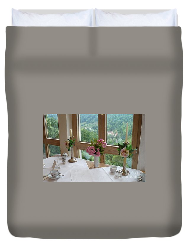 Rothenburg Duvet Cover featuring the photograph Rothenburg Dining With A View by Carol Groenen