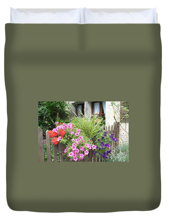 Garden Duvet Cover featuring the photograph Rothenburg Flower Box by Carol Groenen