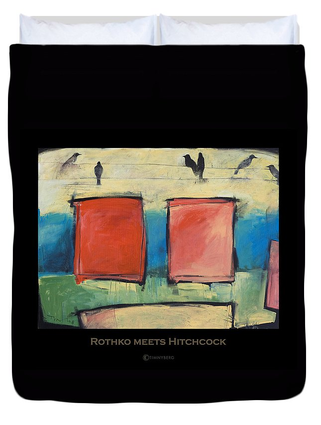 Rothko Duvet Cover featuring the painting Rothko Meets Hitchcock - Poster by Tim Nyberg