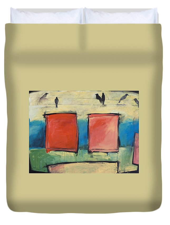 Rothko Duvet Cover featuring the painting Rothko Meets Hitchcock by Tim Nyberg