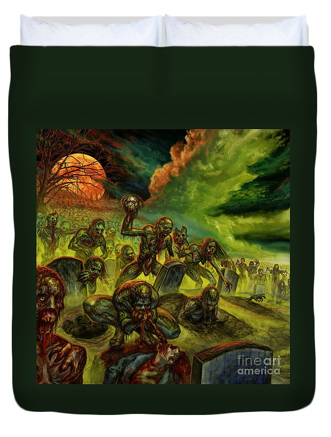 Zombies Duvet Cover featuring the mixed media Rotten Souls Taint The Land by Tony Koehl