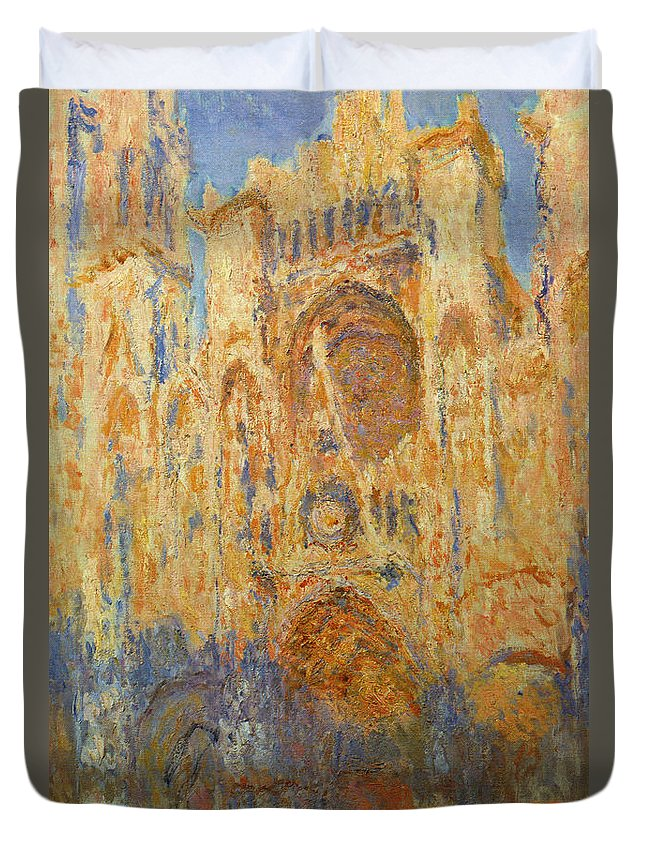 Architectural Duvet Cover featuring the painting Rouen Cathedral, Facade, Sunset by Claude Monet