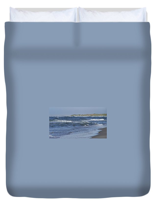 Ocean Duvet Cover featuring the photograph Rough Day At The Beach by Teresa Mucha