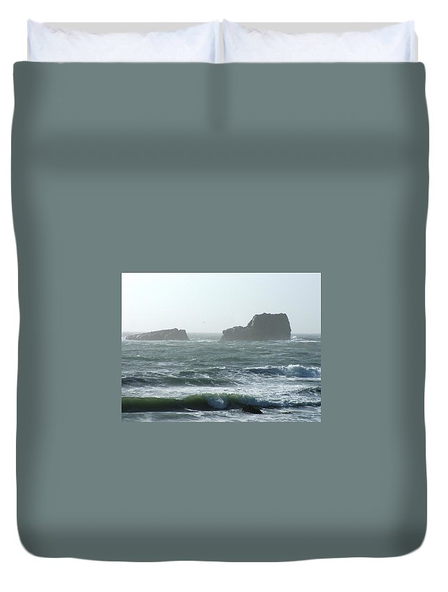 Oceanes Duvet Cover featuring the photograph Rough Waters by Shari Chavira