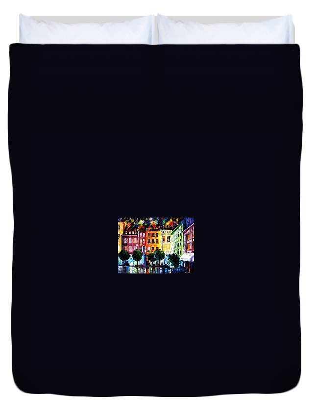 Afremov Duvet Cover featuring the painting Rouin France by Leonid Afremov